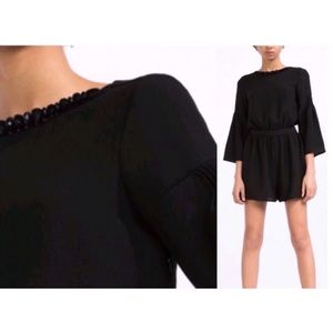 Zara Jeweled Neckline Bell Sleeve Short Romper